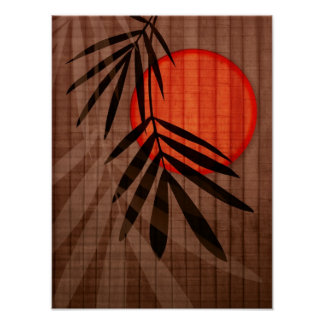 Bamboo & Red Moon Tropical Customized Template Poster