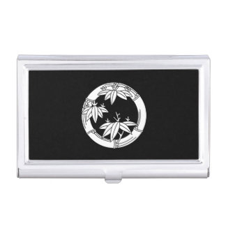 Bamboo ring with bamboo leaves business card holder
