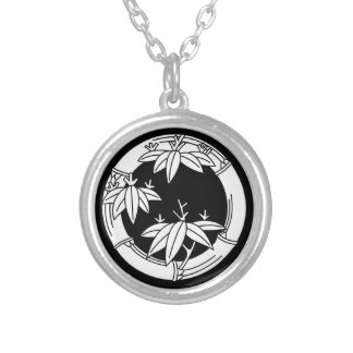 Bamboo ring with bamboo leaves silver plated necklace