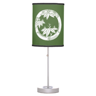 Bamboo ring with bamboo leaves table lamp