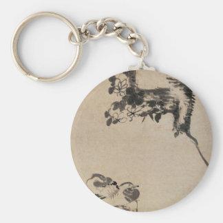 Bamboo, Rock, and Mandarin Ducks by Bada Shanren Basic Round Button Keychain