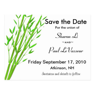 Bamboo Save the Date Postcard