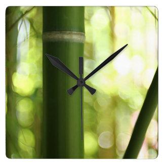 Bamboo Shoot Square Wallclocks