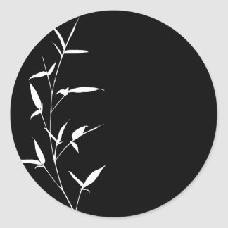 Bamboo Silhouette Background Template Black Blank Classic Round Sticker