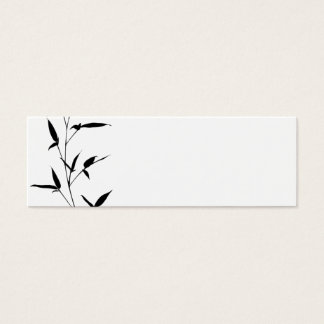 Bamboo Silhouette Background Template Blank Black Mini Business Card