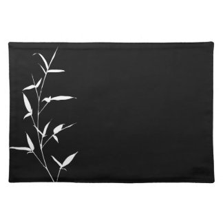 Bamboo Silhouette Background Template Blank Black Placemat