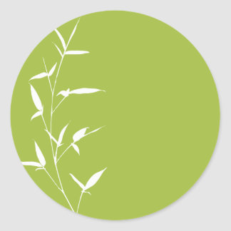Bamboo Silhouette Background Template Green Classic Round Sticker