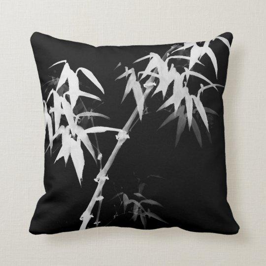 Bamboo Stalks Black-and-White l Oriental Zen Touch Throw Pillow