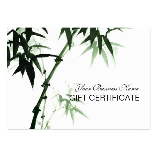 Bamboo Stalks Oriental Zen Touch Gift Certificate Business Cards