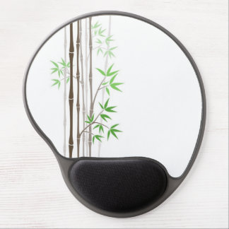 Bamboo Sticks with Leaves on White Gel Mouse Pad