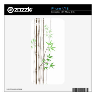 Bamboo Sticks with Leaves on White Skins For iPhone 4S