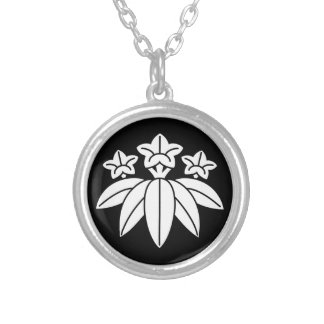 Bamboo-style gentian silver plated necklace