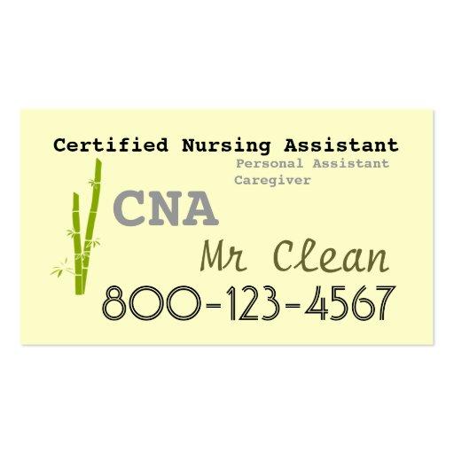 Bamboo theme CNA business card template