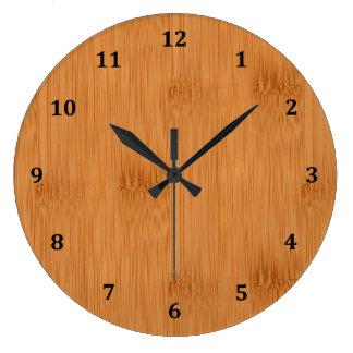 Bamboo Toast Wood Grain Look Large Clock