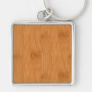 Bamboo Toast Wood Grain Look Silver-Colored Square Keychain