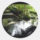 Bamboo Waterfall in Japan Classic Round Sticker