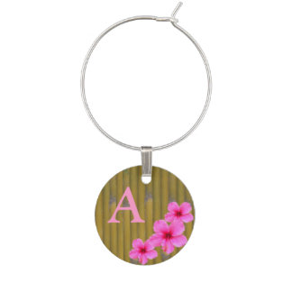 Bamboo with Pink Hibiscus Wine Charm