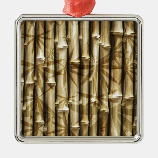 Bamboo Wood Texture Square Metal Christmas Ornament