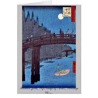 Bamboo yards, Kyō bridge by Andō, Hiroshige Ukiyo- Stationery Note Card