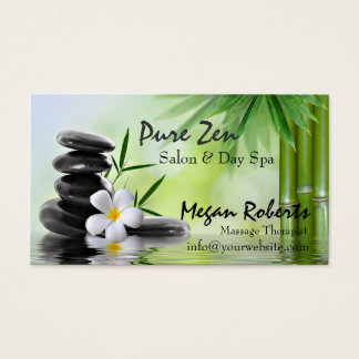 Bamboo Zen Stones Spa Skin Care Massage Salon Business Card