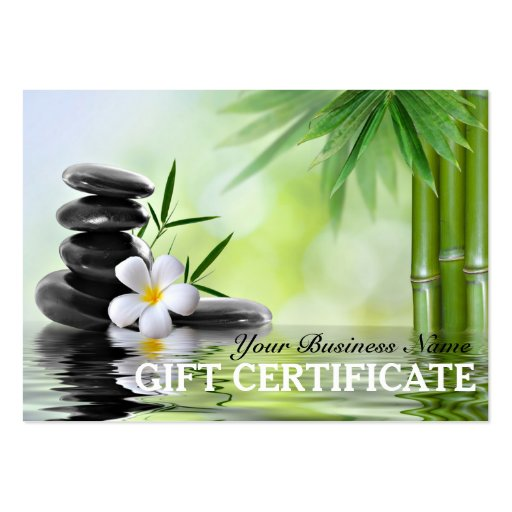 bamboo zen stones water spa salon gift certificate large business card