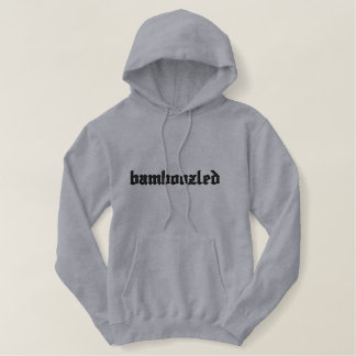 Bamboozled Men's Cotton Hoodie- Lt Grey/Black Embroidered Hoodie