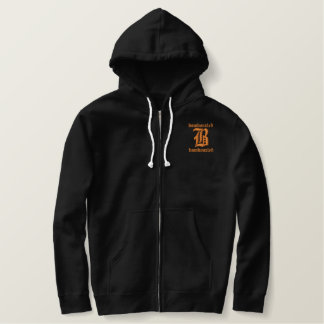 Bamboozled Men's Cotton Zip Hoodie- Black/Orange Embroidered Hoodie