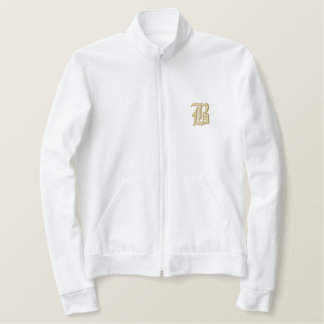 Bamboozled Men's Zip Jacket- White/Gold Embroidered Jacket