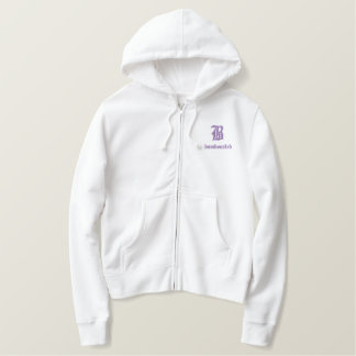Bamboozled Women's Zip Cotton Hoodie-Wh/Purple Embroidered Hoodie