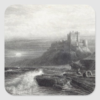 Bamborough Castle, engraved by S. Bradshaw Square Sticker
