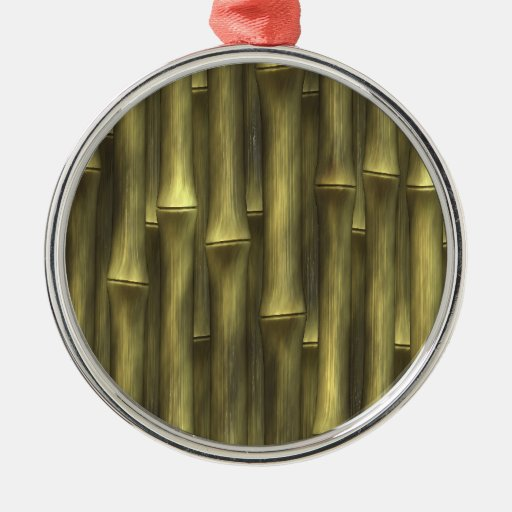 Bambú - adorno navideño redondo de metal