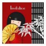 Bambú asiático blanco negro de la invitación