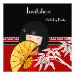 Bambú asiático blanco negro rojo de la invitación