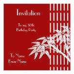 Bambú asiático blanco rojo de la invitación