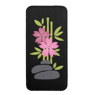 Bambú con las flores de cerezo rosadas funda para iPhone 5