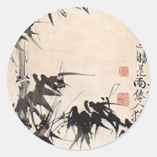 Bambú de Hsu Wei Pegatina Redonda