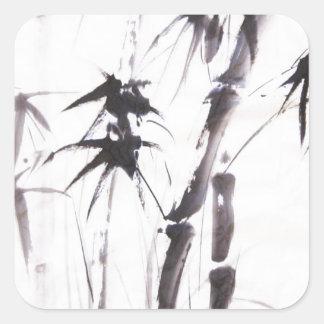 Bambú de la acuarela pegatina cuadrada