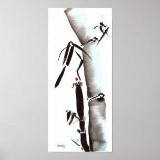 Bambú de medianoche azul póster