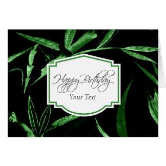 Bambú del verde del feliz cumpleaños felicitación