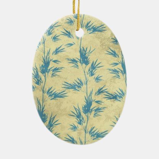 Bambú del vintage adorno ovalado de cerámica