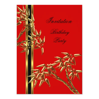 """Bambú elegante del asiático de la fiesta de invitación 5.5"""" x 7.5"""""""