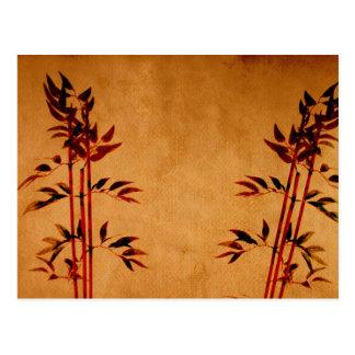 Bambú en el pergamino tarjetas postales