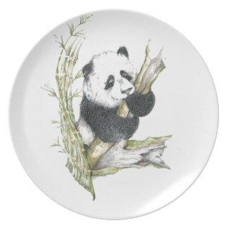 Bambú lindo del dibujo de lápiz del oso de panda platos