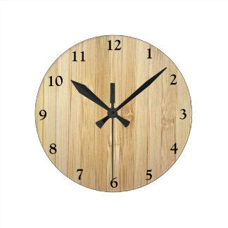 Bambú-Mirada Reloj De Pared