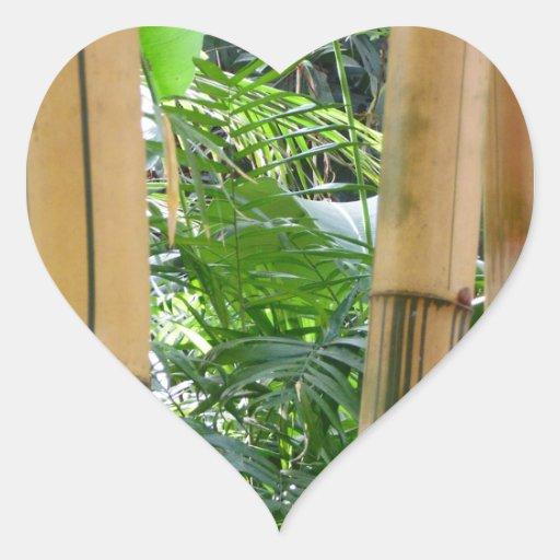 Bambú Calcomanía Corazón