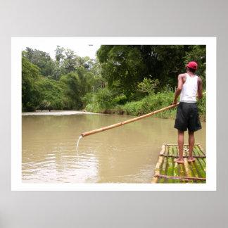 Bambú que transporta el gran río en balsa Jamaica Póster