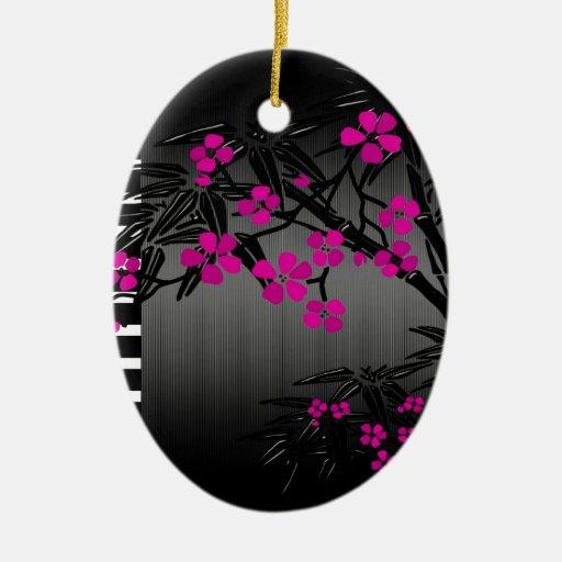 Bambú rosado elegante del asiático del negro del adornos