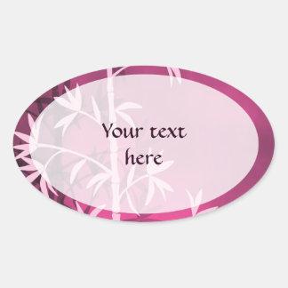 Bambú rosado pegatina ovalada