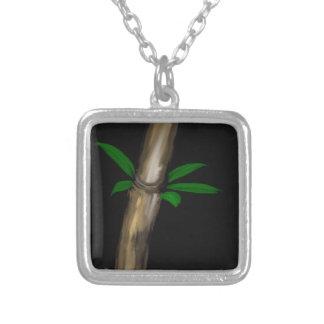 Bambú y hojas colgante cuadrado