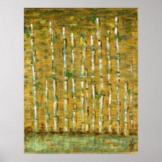 Bambú y Koi Poster